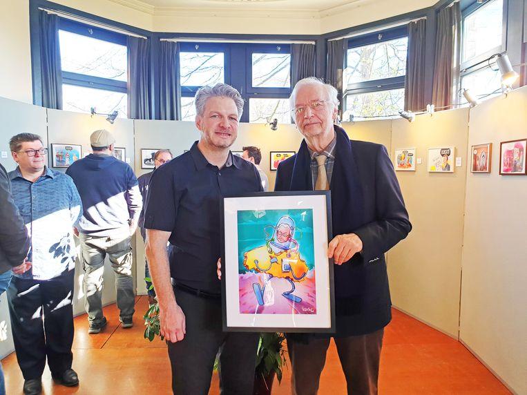 Cartoonist Erwin Vanmol met Rik Van Cauwelaert