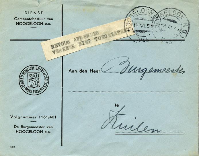 Een poststuk van de toenmalige gemeente Hoogeloon uit 1945.