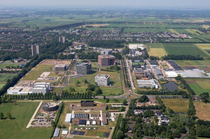 Wageningen Campus, vanuit de lucht gezien in westelijke richting.