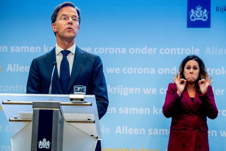 Mark Rutte tijdens de persconferentie afgelopen maandag.  Beeld Getty