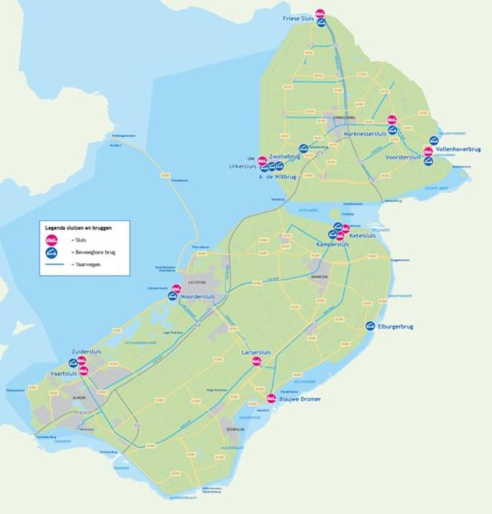Alle bruggen en sluizen die onder de verantwoordelijk van de provincie Flevoland vallen.
