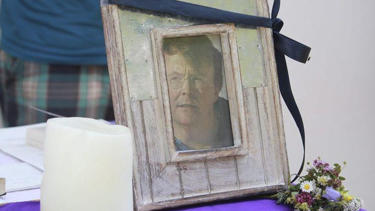 Portret van Friso tijdens een herdenkingsmis in Lech, gisteren Beeld epa