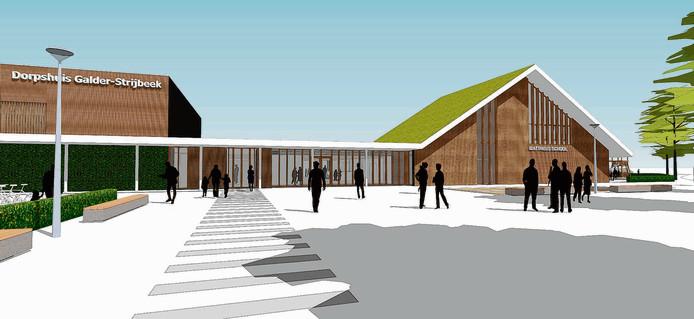 Het ontwerp van Dorpshuis De Leeuwerik zoals het begin 2014 is geopend.