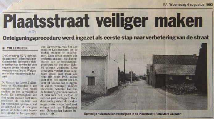 Al 26 jaar geleden verscheen er een artikel om de Plaatsstraat veiliger te maken