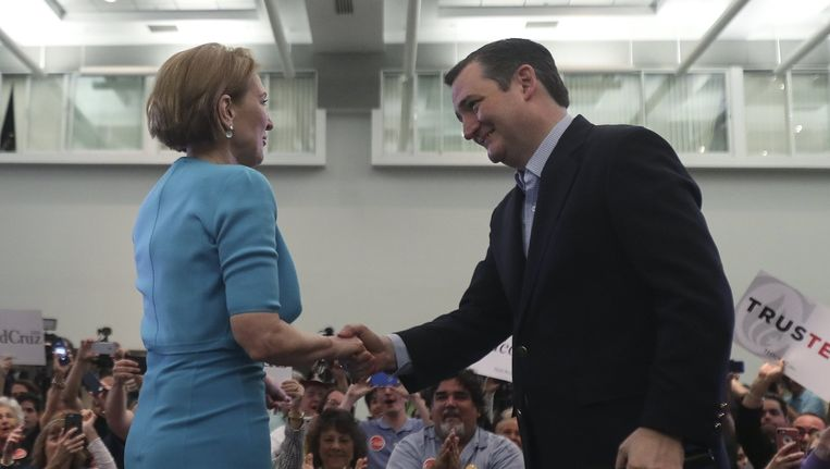 Carly Fiorina (links) en Ted Cruz. Beeld reuters