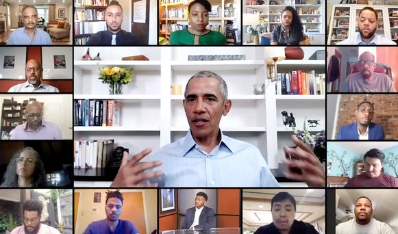 Barack Obama sprak woensdag jongeren toe via Zoom.