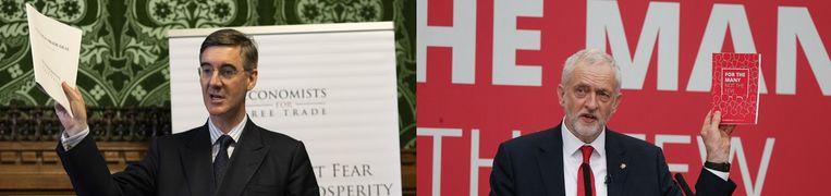 Jacob Rees Mogg (links) en Jeremy Corbyn Beeld Getty Images (l) en EPA