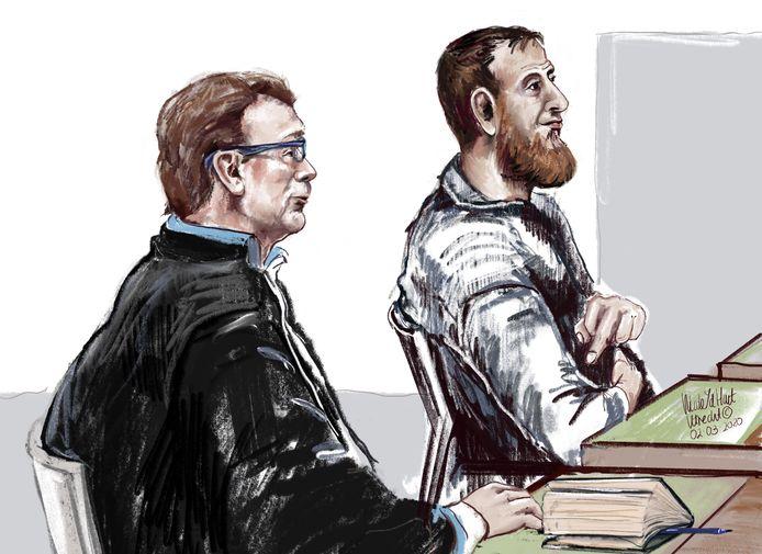 Tramschutter Gökmen Tanis in de rechtbank in Utrecht tijdens het proces rond de tramaanslag.