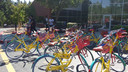 Google fietsen bij de campus in Mountain View