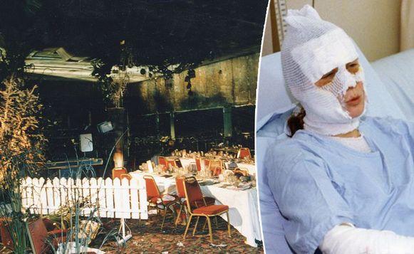 De brand richtte een ware ravage aan. Rechts de toenmalige Miss Diamant Sandra Van den Broeck.
