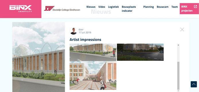 De site van het Stedelijk College en aannemer BINX over de nieuwbouw aan de Henegouwenlaan in Eindhoven.