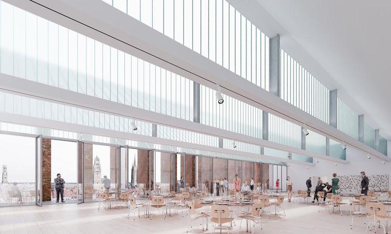 Op de gelijkvloerse verdieping wordt de ruimte omgeven door glas. Drie zijmuren zullen open kunnen, waardoor het gebouw als overdekt plein kan dienen.