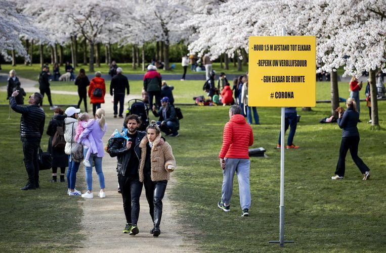 Bloeiende kersenbloesems in het Amsterdamse Bos. Normaal gesproken trekt het bloesempark veel bezoekers, maar vanwege de kabinetsmaatregelen rond het coronavirus wordt publiek afgeraden een kijkje te nemen. Beeld ANP