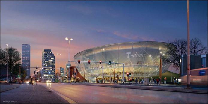 In de serie sexy plaatjes op geduldig papier: de T-Dome, droom van een wielerbaan en rockhal op de plek van het huidige Spoorpark.