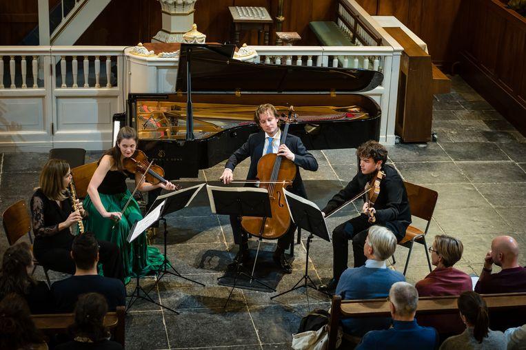 Tijdens het Fluitkwartet van Lex van Delden in de Lutherse Kerk, Utrecht. Beeld Majanka Fotografie