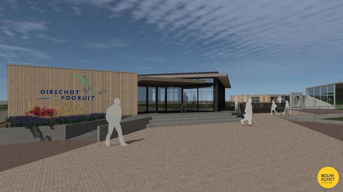 De nieuwe kantine van Oirschot Vooruit, zoals die in de zomer van 2019 verrijst.