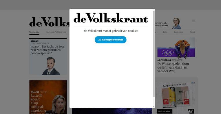 De cookiewall op Volkskrant.nl Beeld