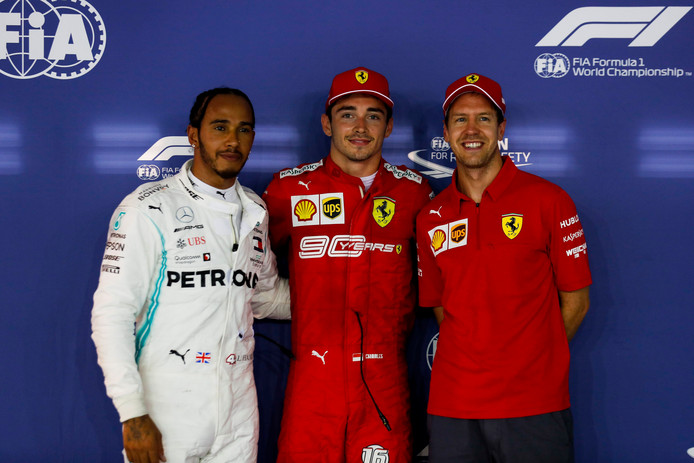 Lewis Hamilton, Charles Leclerc et Sebastian Vettel