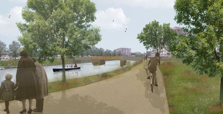 Een simulatie van de voetgangersbrug over de Leie.
