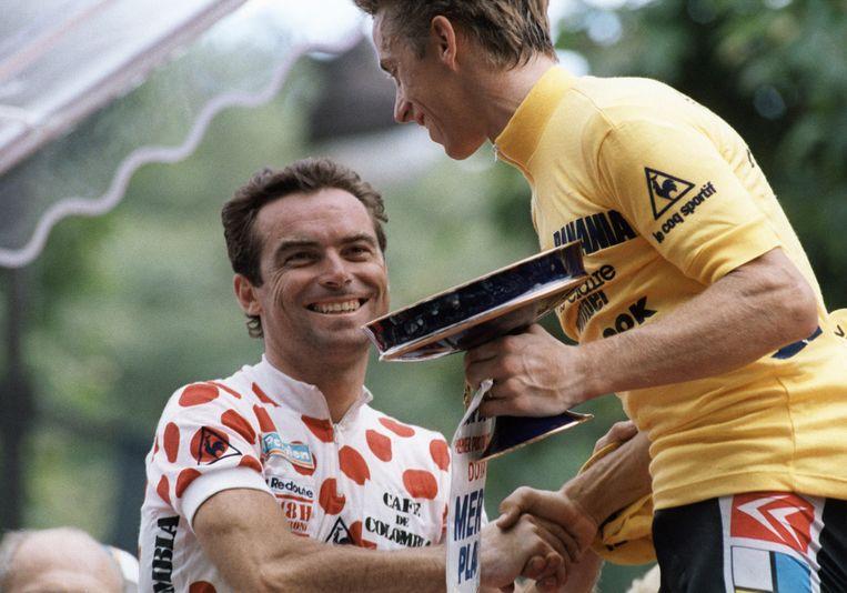 Ook in het tijdperk van Hinault en LeMond had Radio Tour de France al dezelfde herkenningstune. Beeld AFP