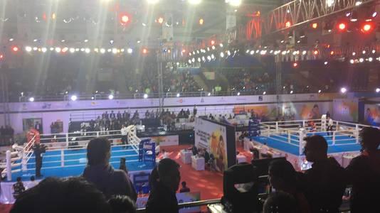WK boksen, de ring in New Delhi, India.