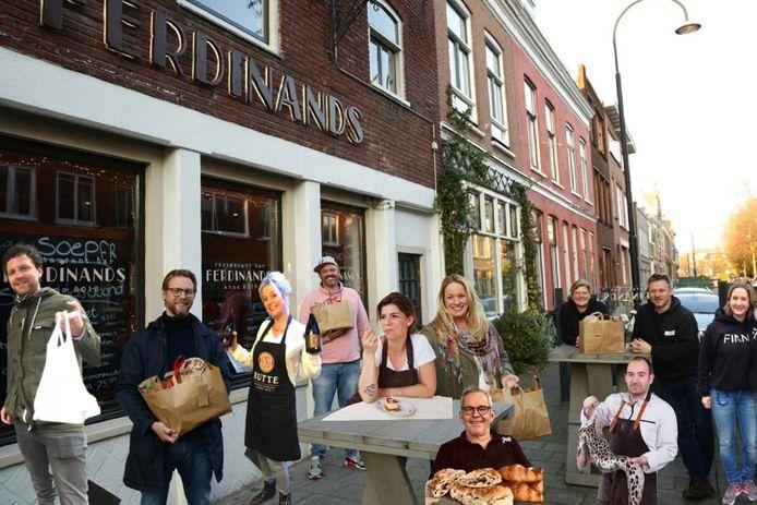 Bewerkt beeld van 'Rondje Dordt thuis op je bord' met daarop alle samenwerkende horecazaken en wethouder Maarten Burggraaf (tweede van links) die het diner in ontvangst neemt.