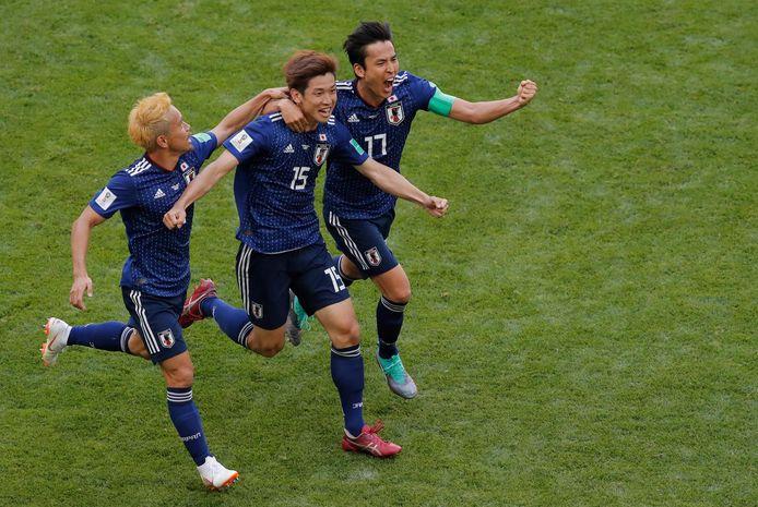De Japanners Yuya Osako, Makoto Hasebe en Yuto Nagatomo tijdens het WK van 2018.