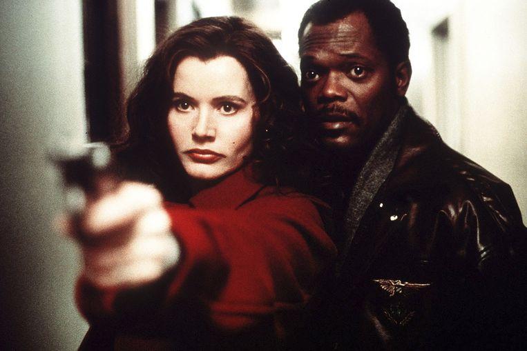Geena Davis en Samuel L. Jackson in The Long Kiss Goodnight. Beeld