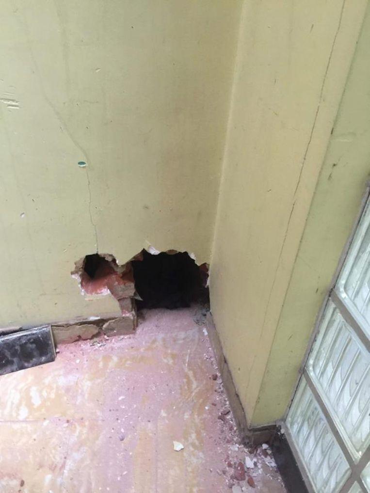 Via deze opening in het Sint Maartensinstituut, die de brandweer mocht maken met toestemming van de school, kon het katje uit de koker gehaald worden.