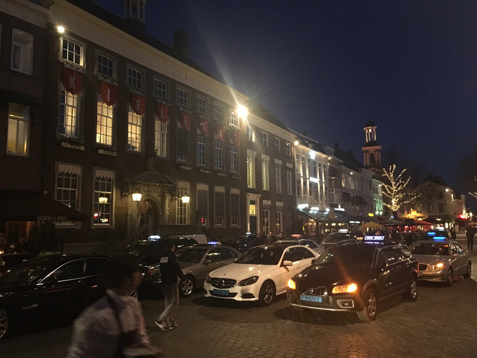 Protest taxichauffeurs in Breda.