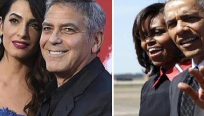 Visite du couple Obama chez les Clooney