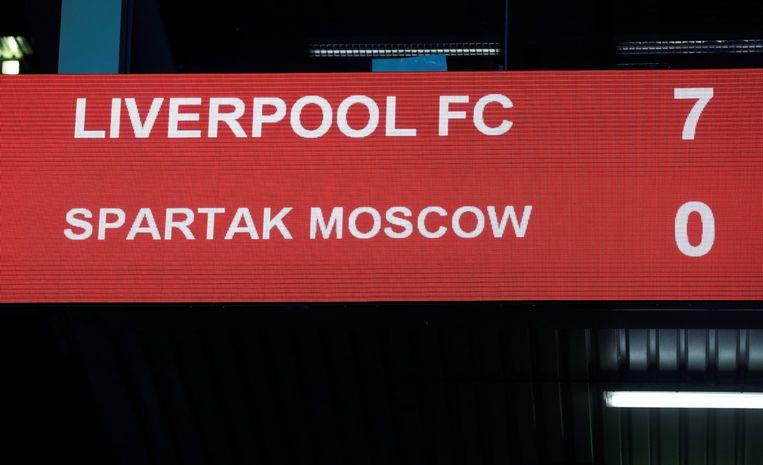 Dit seizoen droogde Liverpool Spartak Moskou af met 7-0 in de groepsfase.