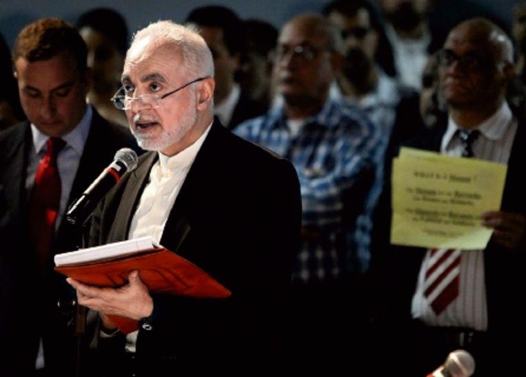 Ook eind mei kwam het al tot protesten tegen de voorgestelde bouw van het islamitisch centrum, waarbij imam Feisal Abdul Rauf, betrokken bij het Cordoba-initiatief, werd uitgejouwd. (FOTO AP) Beeld