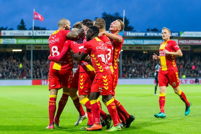 GA Eagles-speler Stefano Beltrame (m) viert in september vorig jaar de 1-0 tegen FC Volendam.