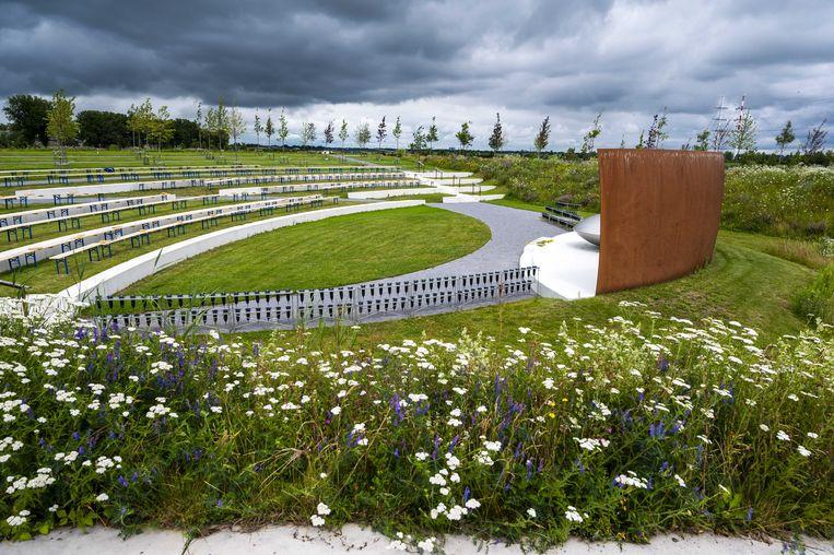 Het Nationaal Monument MH17 in Park Vijfhuizen, ter nagedachtenis aan de slachtoffers van de vliegramp met vlucht MH17. Beeld ANP