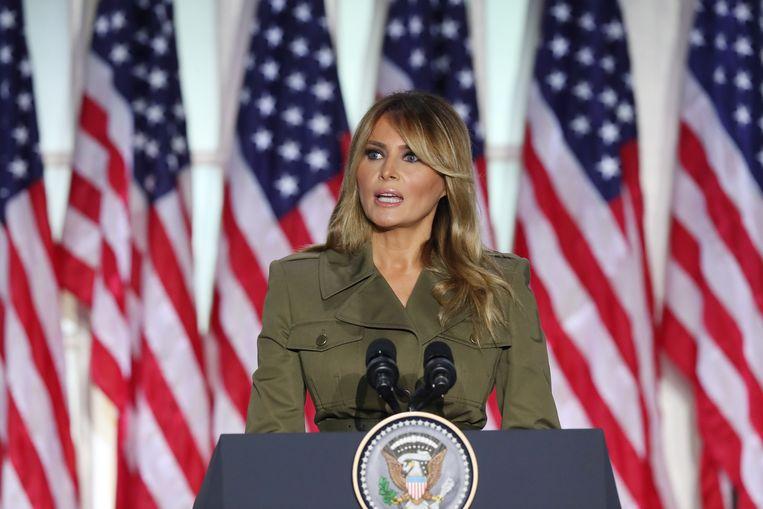 Melania Trump op de Republikeinse Conventie. Beeld EPA