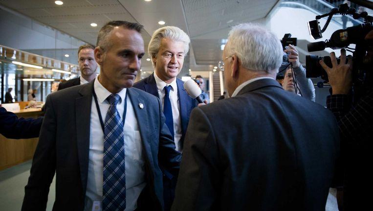 PVV-fractievoorzitter Geert Wilders tijdens het wekelijkse vragenuur in de Tweede Kamer. Beeld anp