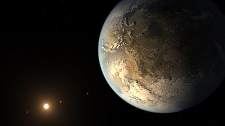 NASA-impressie van Kepler-186f, de eerst ontdekte exoplaneet met ongeveer de omvang van de aarde die rond een ster draait in de bewoonbare zone. Beeld NASA