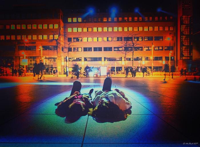 'In the spotlight' op het Stadhuisplein. Winnaar Glow-fotowedstrijd 2017.