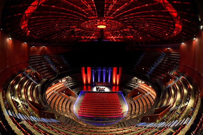 Vue sur la salle du Cirque Royal, lundi, en marge de la conférence de presse sur le bilan et les perspectives