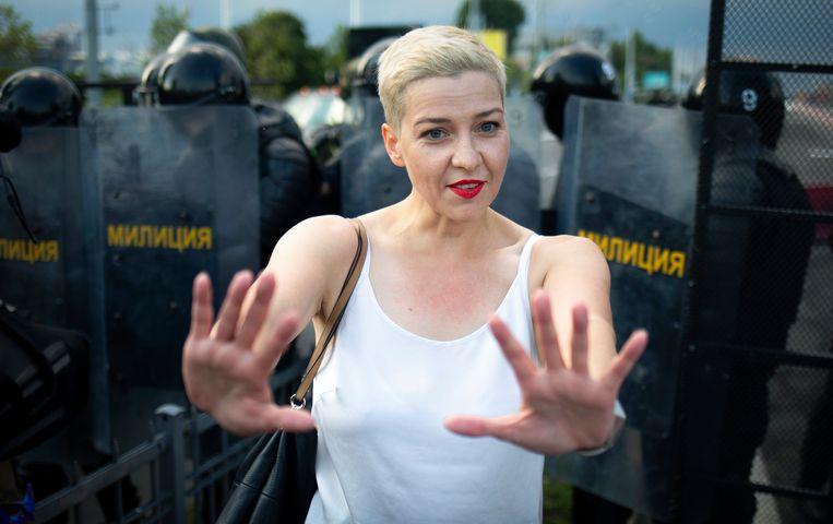 Maria Kolesnikova, een van de leiders van de oppositie in Belarus, afgelopen zondag in Minsk. Beeld AP