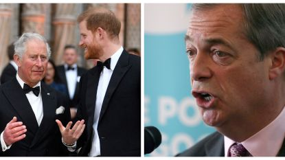 "Brexit-boegbeeld Nigel Farage haalt uit naar Britse koningshuis: ""Het gaat bergafwaarts met Harry sinds Meghan"""