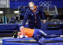 Patrick Roest na de rit op de 5.000 meter op het WK afstanden schaatsen