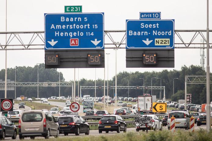 De A1 ter hoogte van Amersfoort