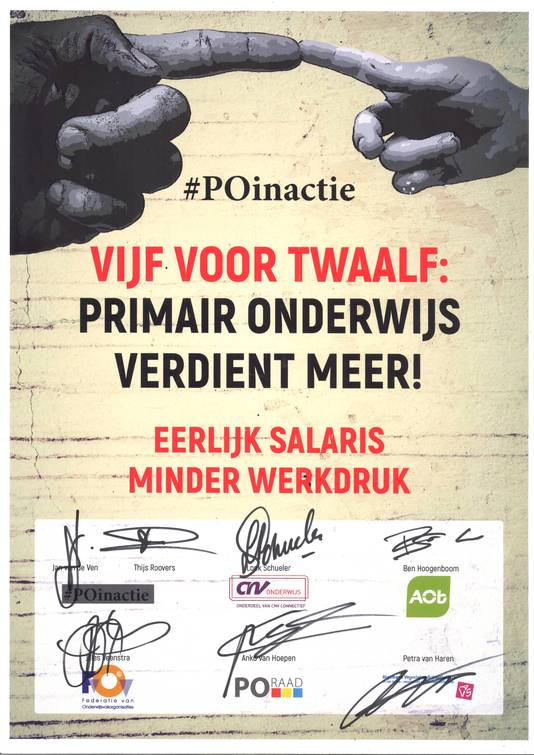 Het pamflet met handtekeningen.