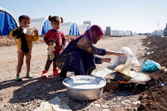 Een tentenkamp voor vluchtelingen in Khazir in Noord-Irak.