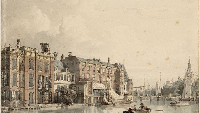 De achterzijde van de Nieuwe Doelenstraat, waar Gillissen zich vestigde, op een tekening van Cornelis Springer uit 1848. Beeld Collectie Atlas Splitgerber
