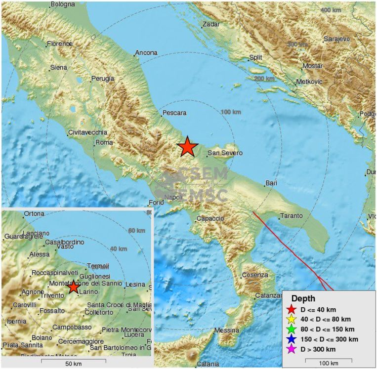 De schok was ook voelbaar in de steden Rome, Napels en Bari.