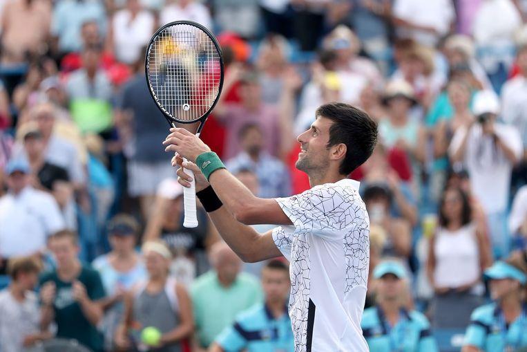 Novak Djokovic wint van Roger Federer in het Amerikaanse Mason. Beeld AFP