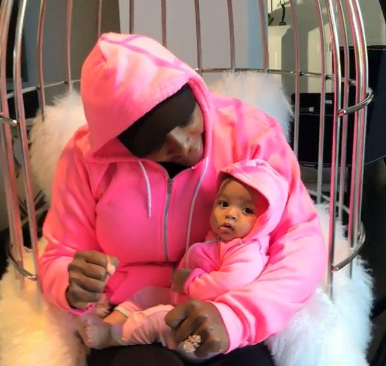 Serena Williams en haar vier maanden oude dochtertje Alexis Olympia.